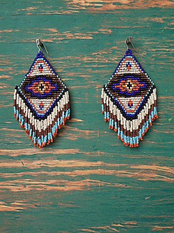Printed Beaded Earrings