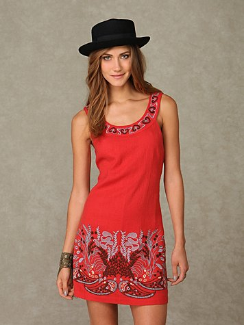 Embroidered Border Shift Dress