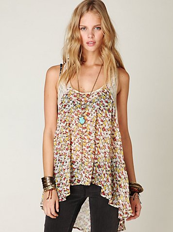 Ditsy Lace Hi-Low Tank