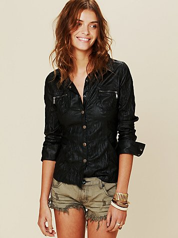 Vegan Leather Buttondown