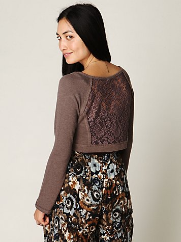 Cropped Lace Inset Pullover