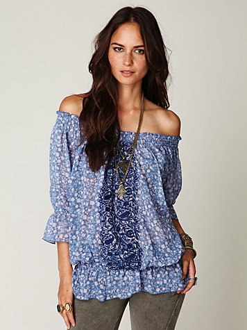 Off the Shoulder Printed Embroidered Top