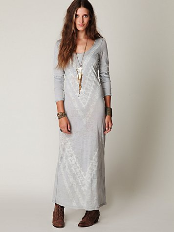 We The Free Long Sleeve Graphic Maxi Dress