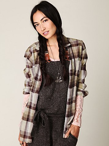 Crochet Back Plaid Button Down