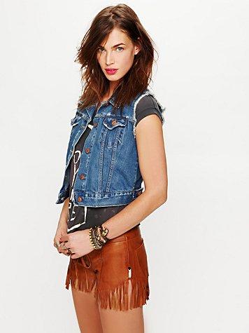Leather Fringed Shorts