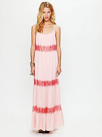 Lace Stripes Maxi Dress