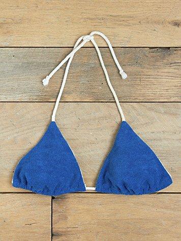 Vintage Navy Terrycloth Bikini Top