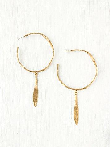 Brass Distressed Hoop Earrings