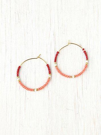 Beaded Small Hoop Earrings