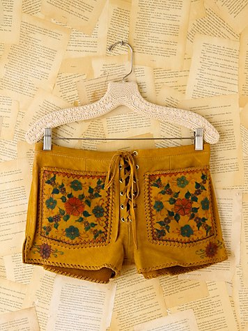 Vintage Painted Floral Leather Shorts
