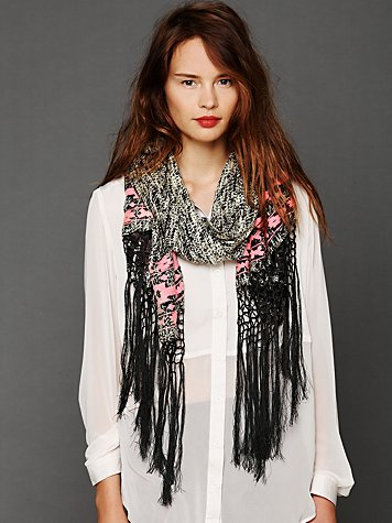 Acid Wash Embroidered Scarf
