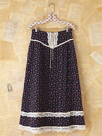 Vintage Gunne Sax Quilted Floral Skirt