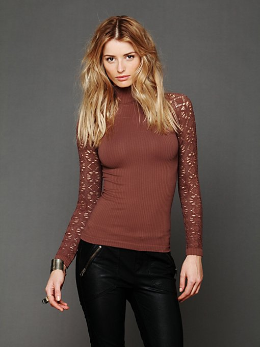 Rib and Lace Turtleneck