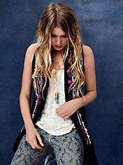 Directions In Embroidery Fringe Vest