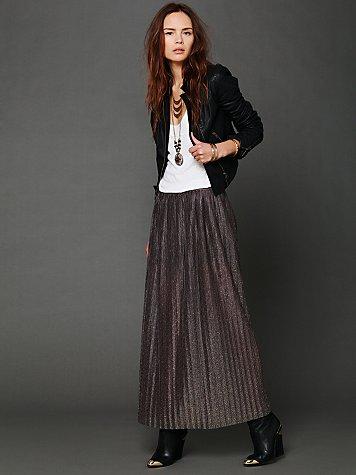 Elena Metallic Maxi Skirt