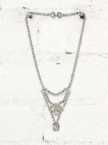 Vintage 1980s Rhinestone Embellished Necklace