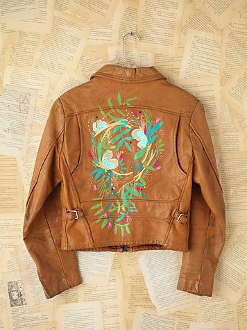 Vintage Lizzy Janssen Hand-Painted Leather Jacket