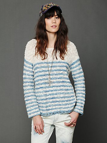 Striped In Crochet Pullover