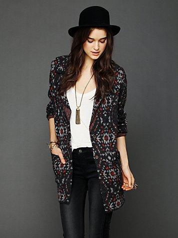 Patterned Sweater Blazer