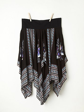 Printed Squared Off Slip Skirt