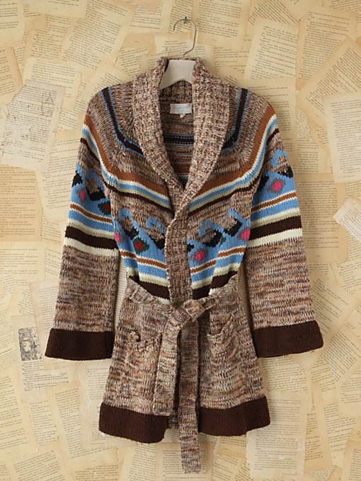Vintage Patterned Knit Cardigan
