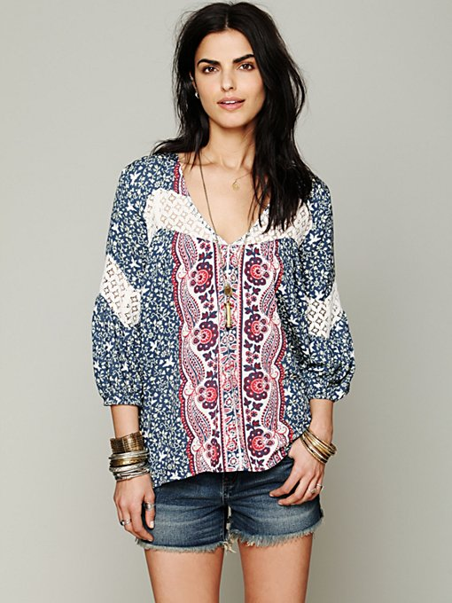 Printed Bubble Sleeve Top