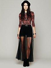 Dot Mesh Skirt