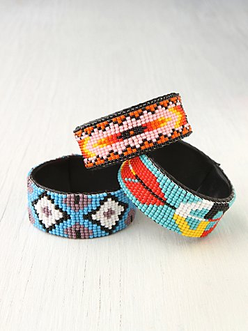 Beaded Design Open Cuff