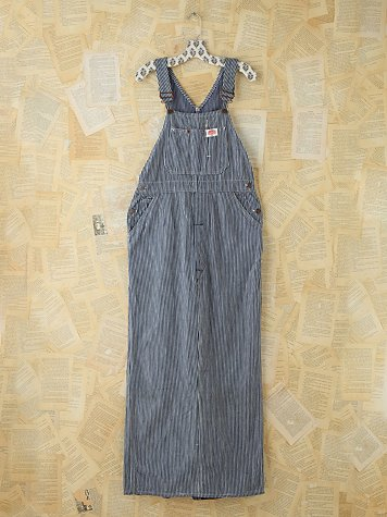Vintage Railroad Striped Overall Maxi Dress