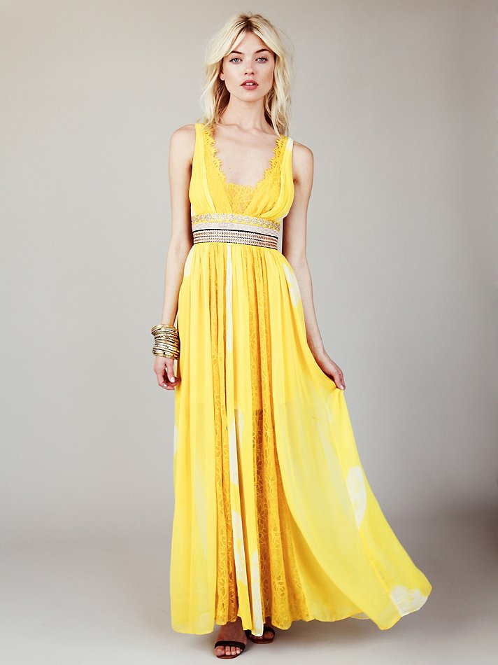 Free people new romantics yellow tie dye maxi dress ebay for Yellow maxi dress for wedding
