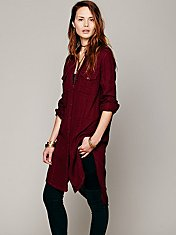 Solid Double Cloth Buttondown Tunic