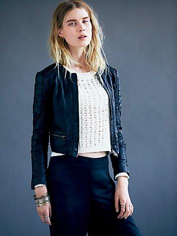 Mao Leather Jacket