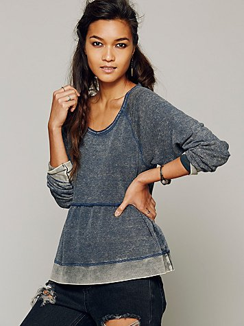 Washed Peplum Pullover