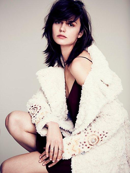 Faux Fur Embellished Swing Coat