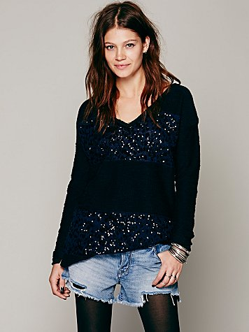 Sequin Rugby Stripe Pullover