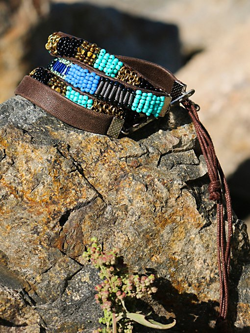 Beaded Leather Stacking Set