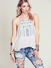 Embroidered Strappy Cross Back Tank