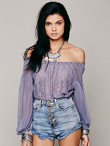 Lace Banded Bottom Blouse