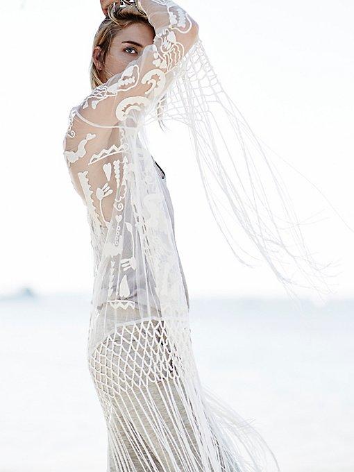 Embroidered Fringe Robe