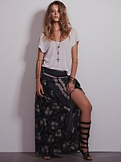 Squared Off Convertible Maxi Skirt
