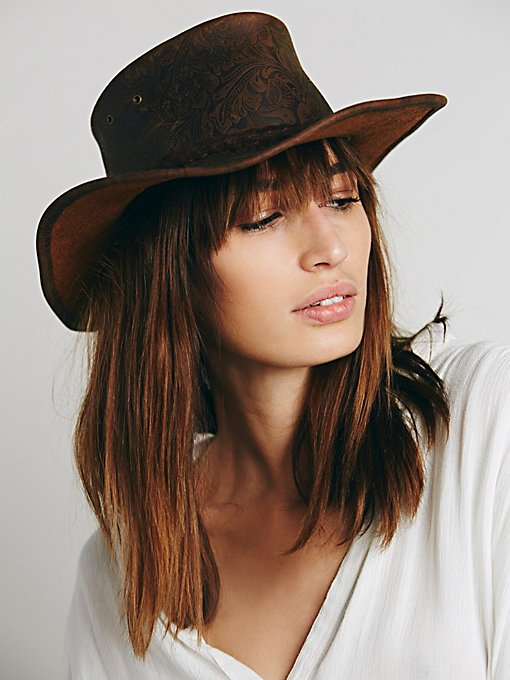 Embossed Leather Hat