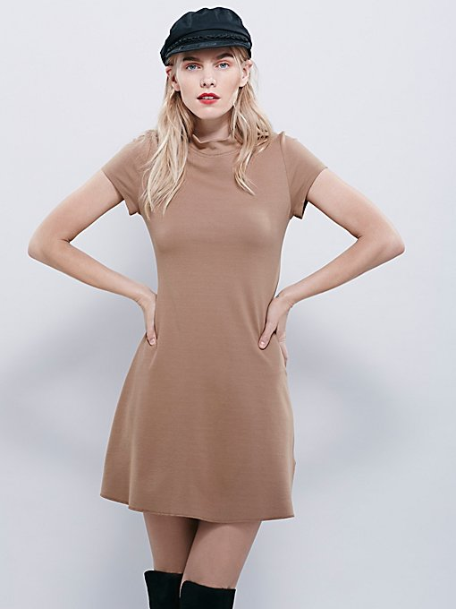 Solid Mock Neck Mini Dress