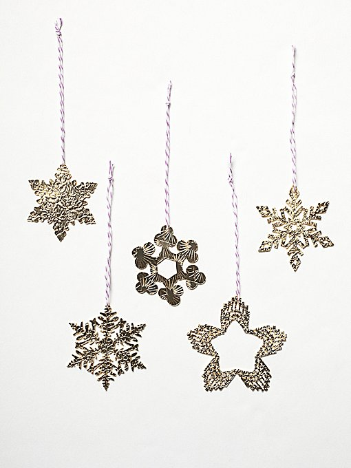 Etched Metal Snowflake Ornament Set