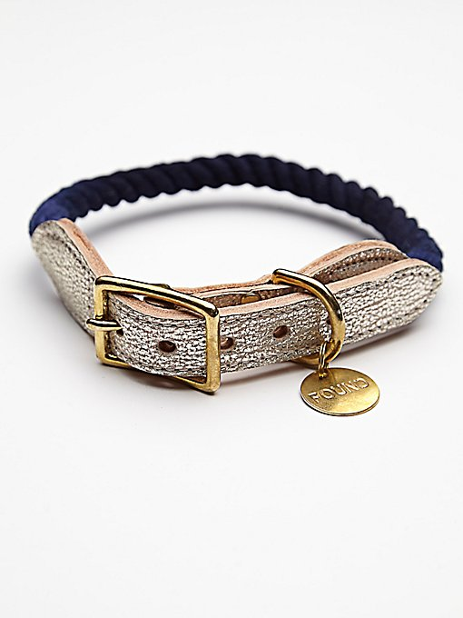 Metallic Leather Rope Collar