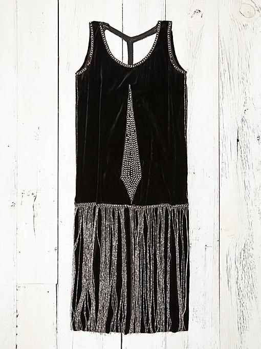 Vintage 1920s Black Velvet Dress