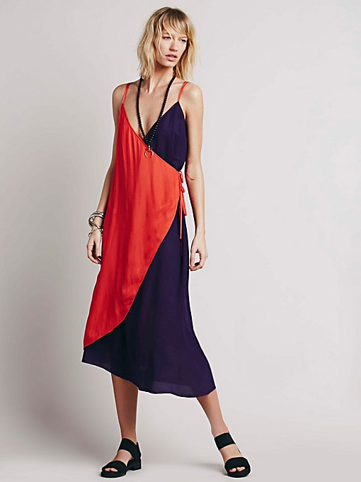 Color Block Wrap Dress