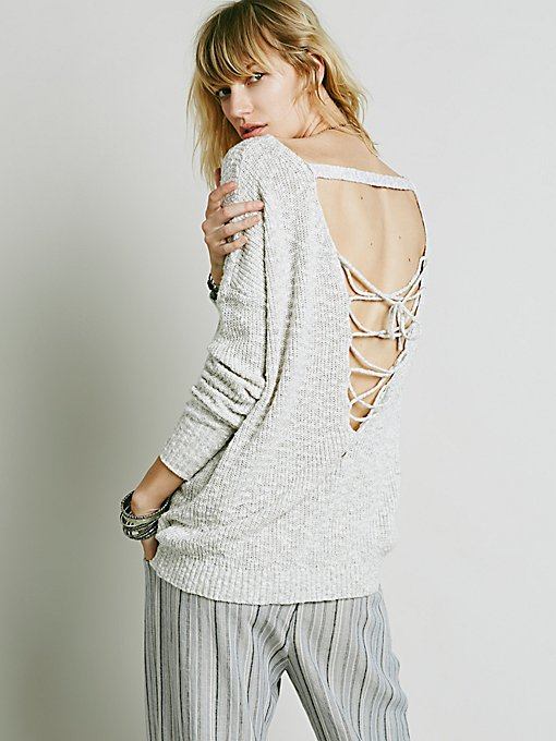 Back Interest Lace Up Pullover