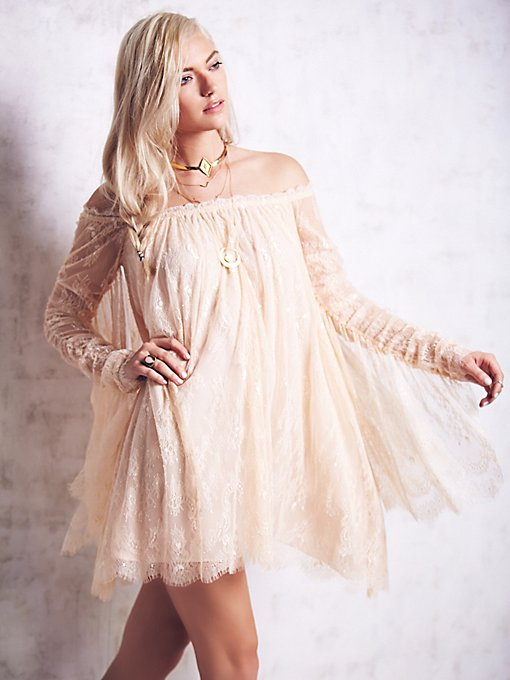 Angel Lace Trapeze Mini Dress
