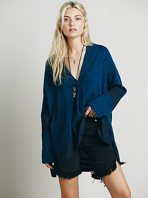 Embroidered Deep V Pocket Tunic