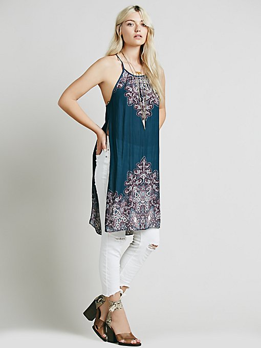 Border Print Maxi With Slits